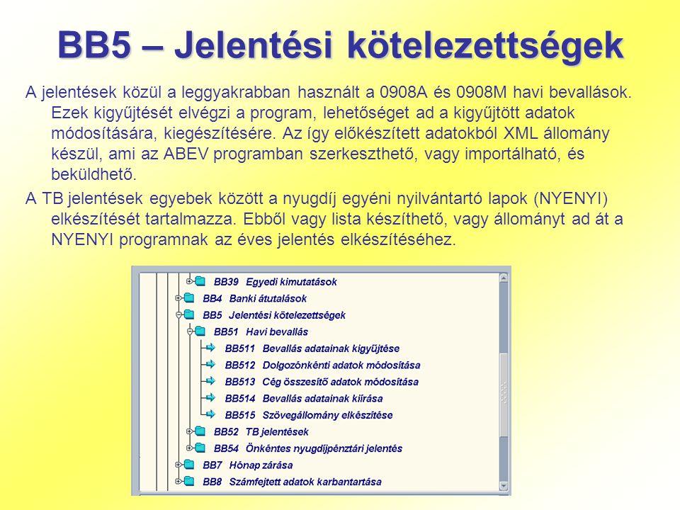 BB5 – Jelentési kötelezettségek A jelentések közül a leggyakrabban használt a 0908A és 0908M havi bevallások. Ezek kigyűjtését elvégzi a program, lehe