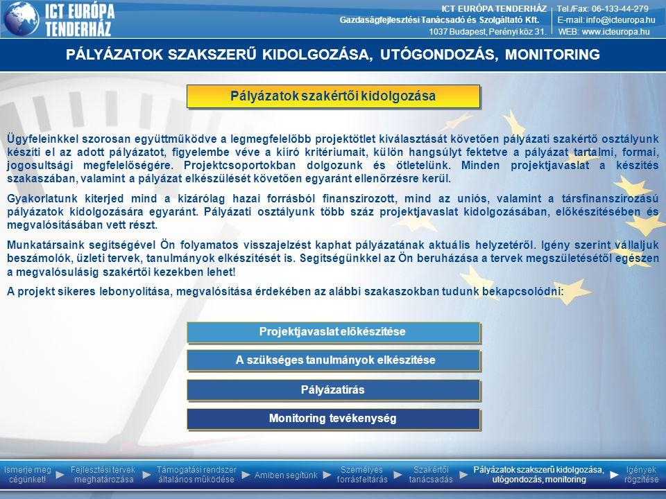 Ismerje meg cégünket! Személyes forrásfeltárás Szakértői tanácsadás Pályázatok szakszerű kidolgozása, utógondozás, monitoring Igények rögzítése Fejles