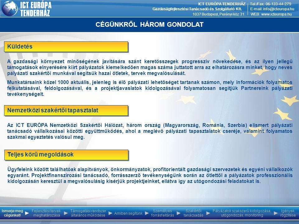 CÉGÜNKRŐL HÁROM GONDOLAT ICT EURÓPA TENDERHÁZ Gazdaságfejlesztési Tanácsadó és Szolgáltató Kft. 1037 Budapest, Perényi köz 31. Tel./Fax: 06-133-44-279