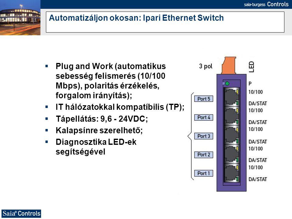 Automatizáljon okosan: Ipari Ethernet Switch  Plug and Work (automatikus sebesség felismerés (10/100 Mbps), polaritás érzékelés, forgalom irányítás);