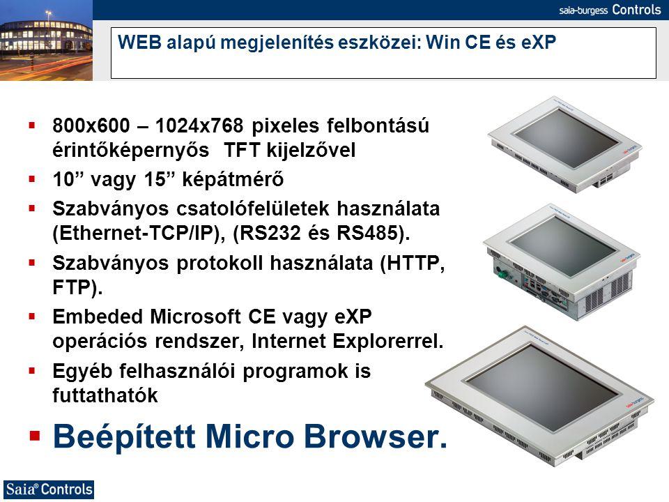 """WEB alapú megjelenítés eszközei: Win CE és eXP  800x600 – 1024x768 pixeles felbontású érintőképernyős TFT kijelzővel  10"""" vagy 15"""" képátmérő  Szabv"""