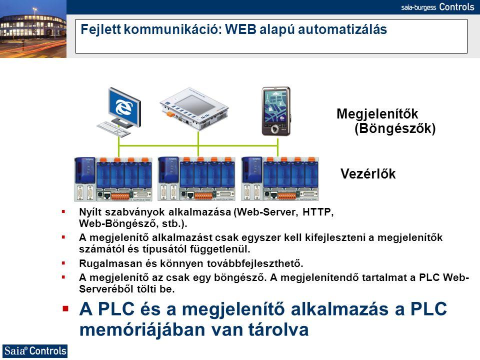  Nyílt szabványok alkalmazása (Web-Server, HTTP, Web-Böngésző, stb.).  A megjelenítő alkalmazást csak egyszer kell kifejleszteni a megjelenítők szám