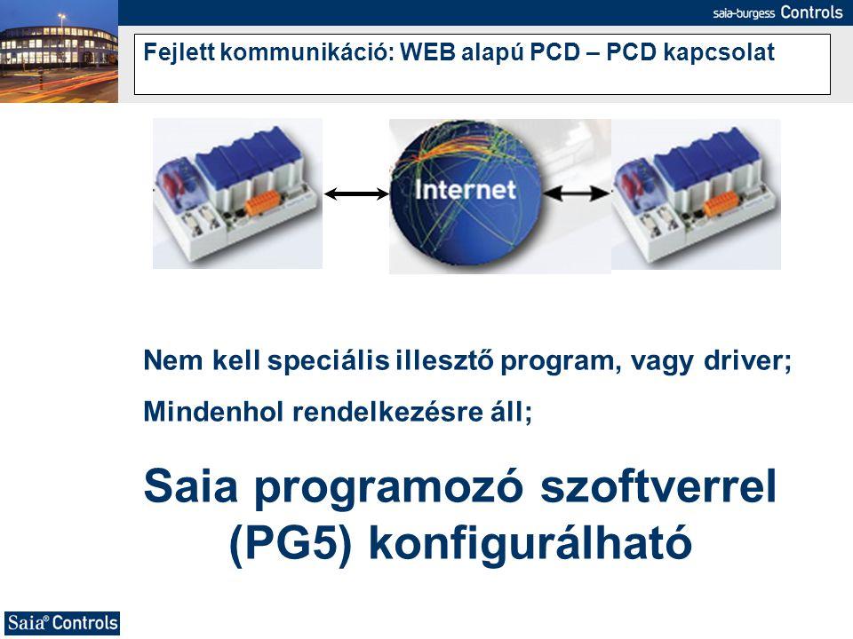 Fejlett kommunikáció: WEB alapú PCD – PCD kapcsolat Nem kell speciális illesztő program, vagy driver; Mindenhol rendelkezésre áll; Saia programozó szo