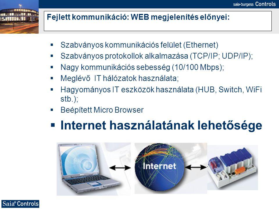 Fejlett kommunikáció: WEB megjelenítés előnyei:  Szabványos kommunikációs felület (Ethernet)  Szabványos protokollok alkalmazása (TCP/IP; UDP/IP); 