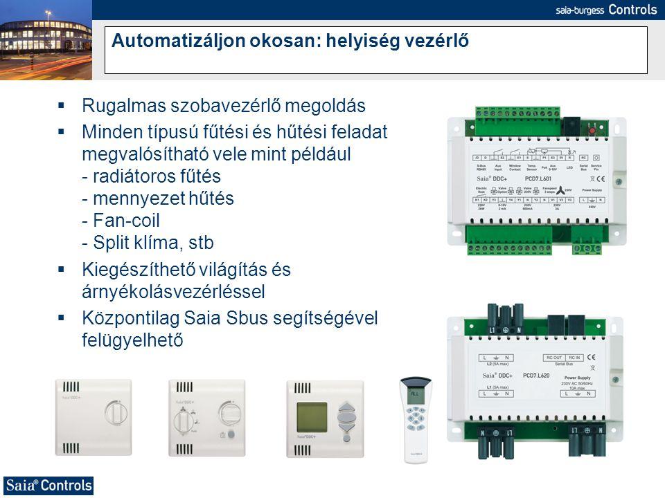 Automatizáljon okosan: helyiség vezérlő  Rugalmas szobavezérlő megoldás  Minden típusú fűtési és hűtési feladat megvalósítható vele mint például - r