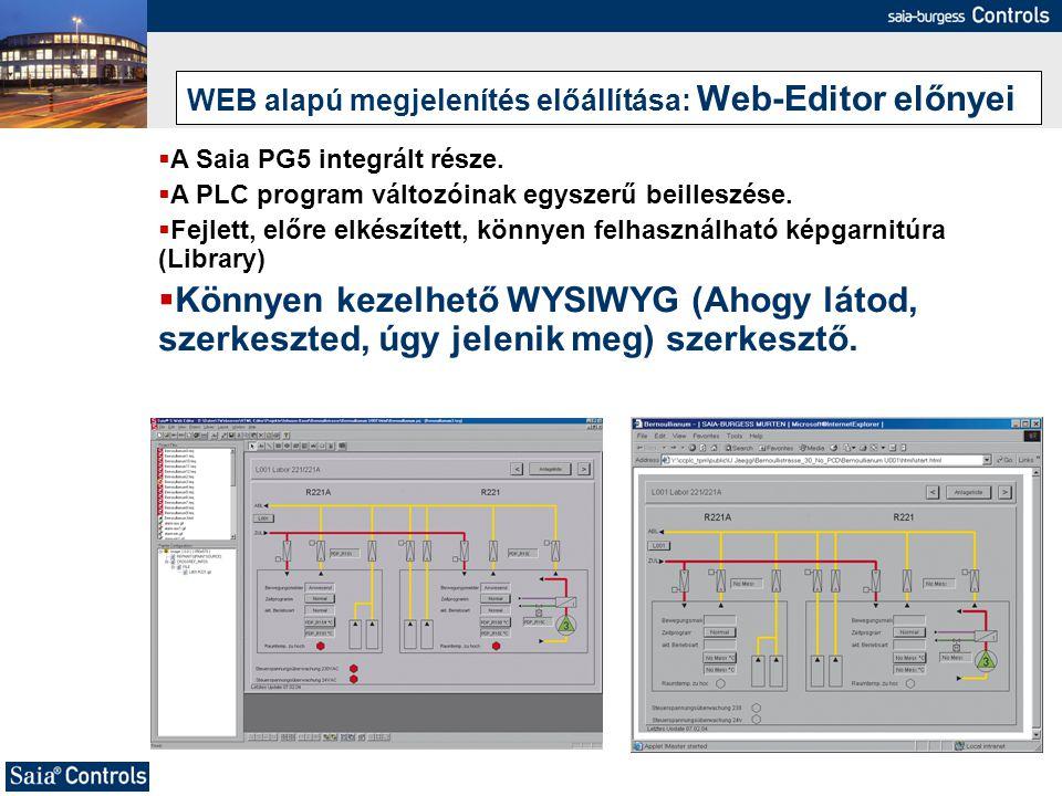 WEB alapú megjelenítés előállítása: Web-Editor előnyei  A Saia PG5 integrált része.  A PLC program változóinak egyszerű beilleszése.  Fejlett, előr