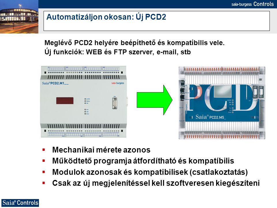 Automatizáljon okosan: Új PCD2 Meglévő PCD2 helyére beépíthető és kompatíbilis vele. Új funkciók: WEB és FTP szerver, e-mail, stb  Mechanikai mérete