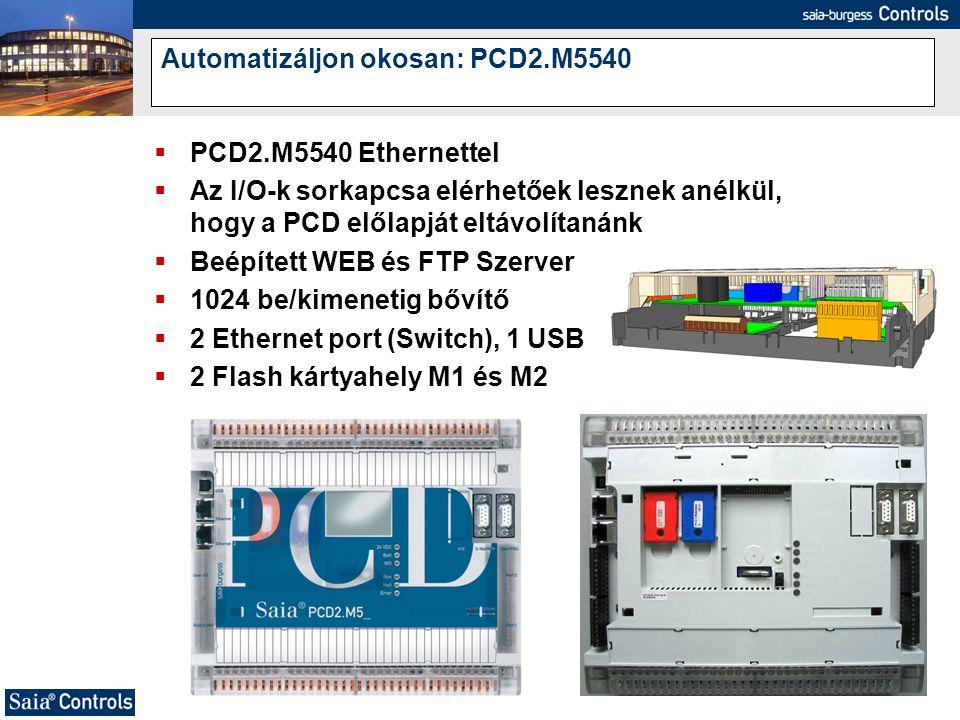  PCD2.M5540 Ethernettel  Az I/O-k sorkapcsa elérhetőek lesznek anélkül, hogy a PCD előlapját eltávolítanánk  Beépített WEB és FTP Szerver  1024 be