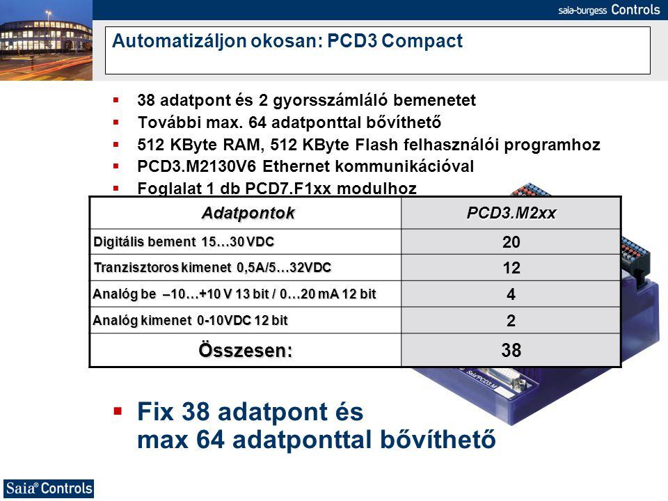  38 adatpont és 2 gyorsszámláló bemenetet  További max. 64 adatponttal bővíthető  512 KByte RAM, 512 KByte Flash felhasználói programhoz  PCD3.M21