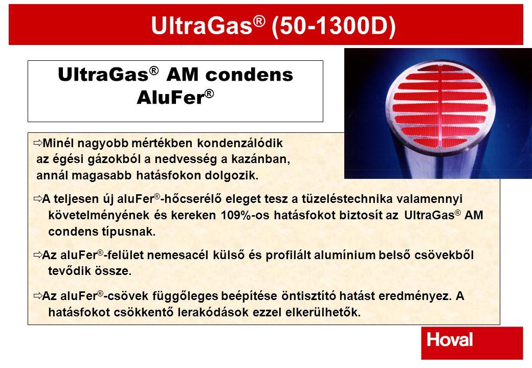UltraGas ® (50-1300D) UltraGas ® AM condens AluFer ®  Minél nagyobb mértékben kondenzálódik  az égési gázokból a nedvesség a kazánban,  annál magas
