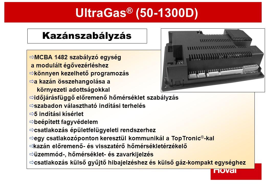 UltraGas ® (50-1300D) Kazánszabályzás  MCBA 1482 szabályzó egység  a modulált égővezérléshez  könnyen kezelhető programozás  a kazán összehangolás