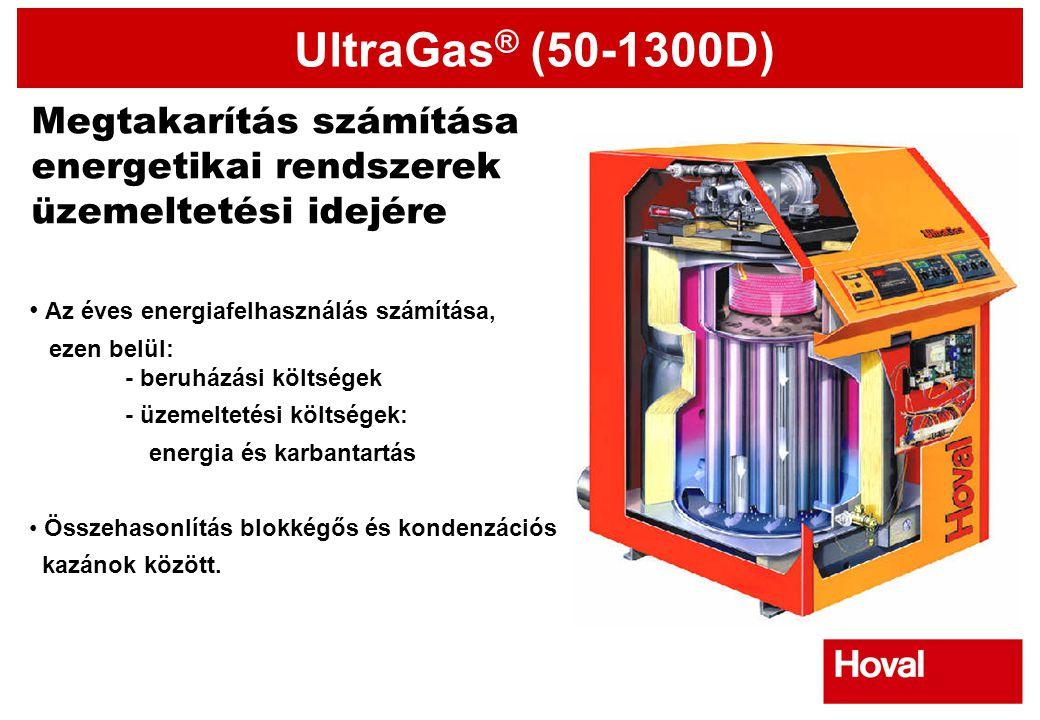 UltraGas ® (50-1300D) Megtakarítás számítása energetikai rendszerek üzemeltetési idejére • Az éves energiafelhasználás számítása, ezen belül: - beruhá