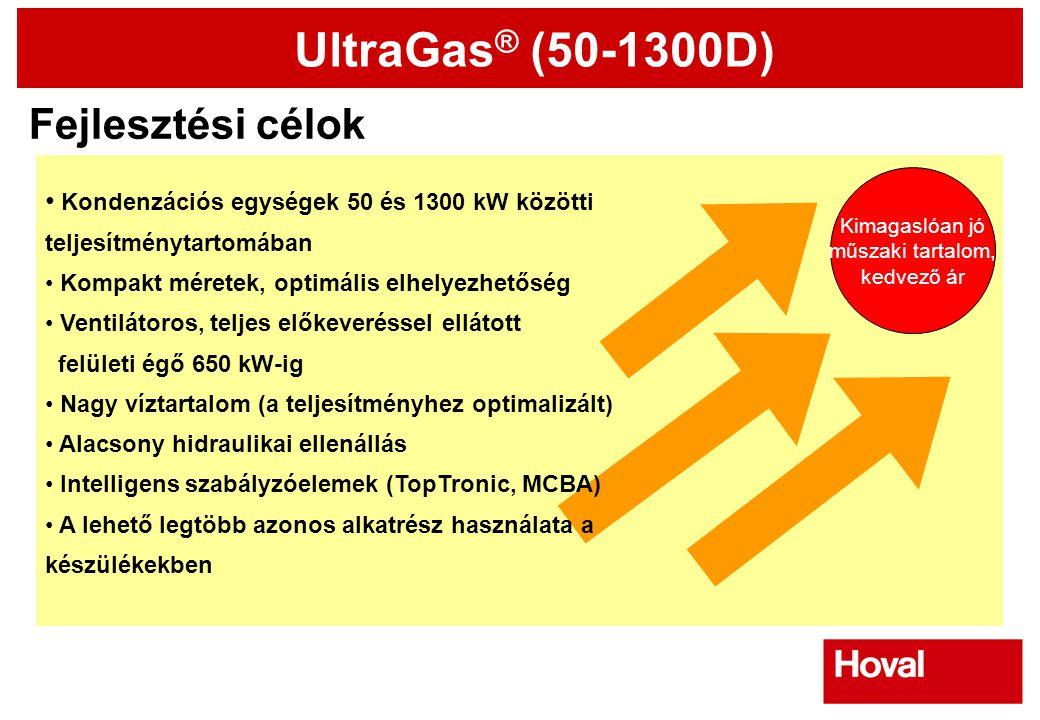 UltraGas ® (50-1300D) Fejlesztési célok Kimagaslóan jó műszaki tartalom, kedvező ár • Kondenzációs egységek 50 és 1300 kW közötti teljesítménytartomáb