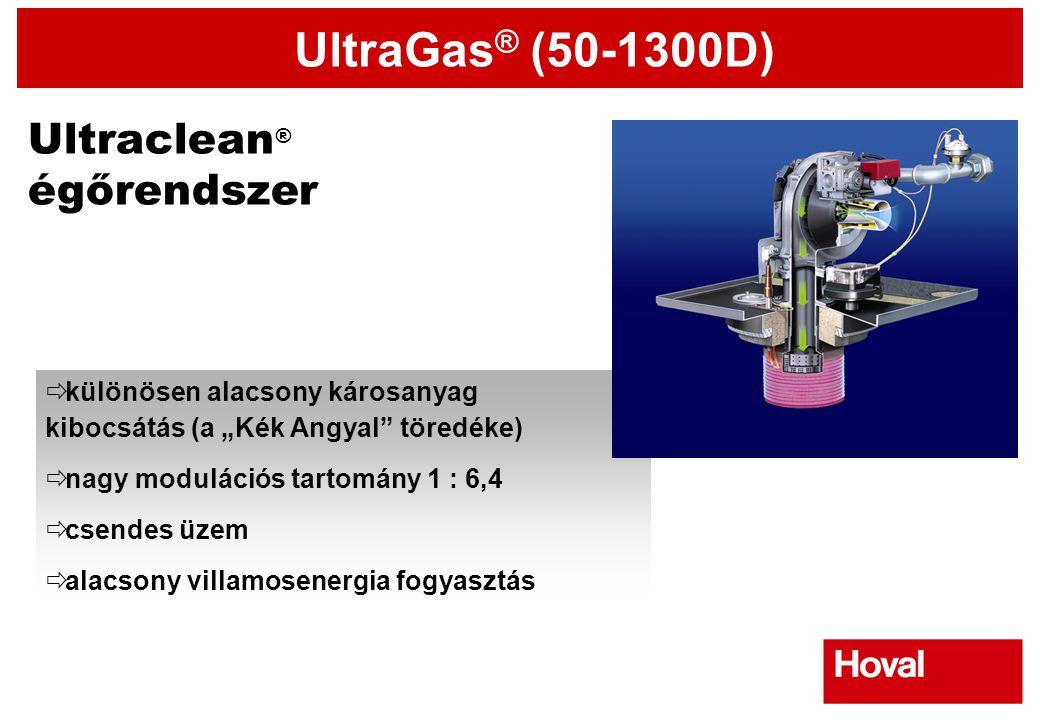 """UltraGas ® (50-1300D) Ultraclean ® égőrendszer  különösen alacsony károsanyag kibocsátás (a """"Kék Angyal"""" töredéke)  nagy modulációs tartomány 1 : 6,"""