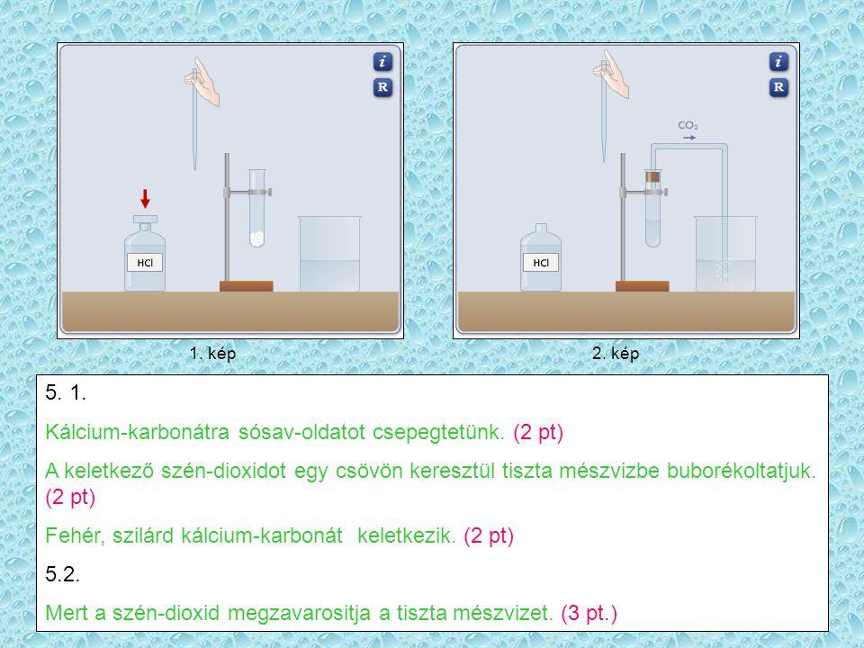 1.kép2. kép 5. 1. Kálcium-karbonátra sósav-oldatot csepegtetünk.