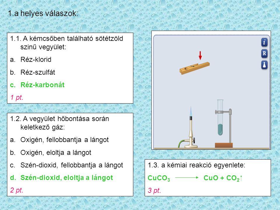 2.a helyes válaszok: 2.1. Melyik oxid hőbontásának eredményét látod a képen.