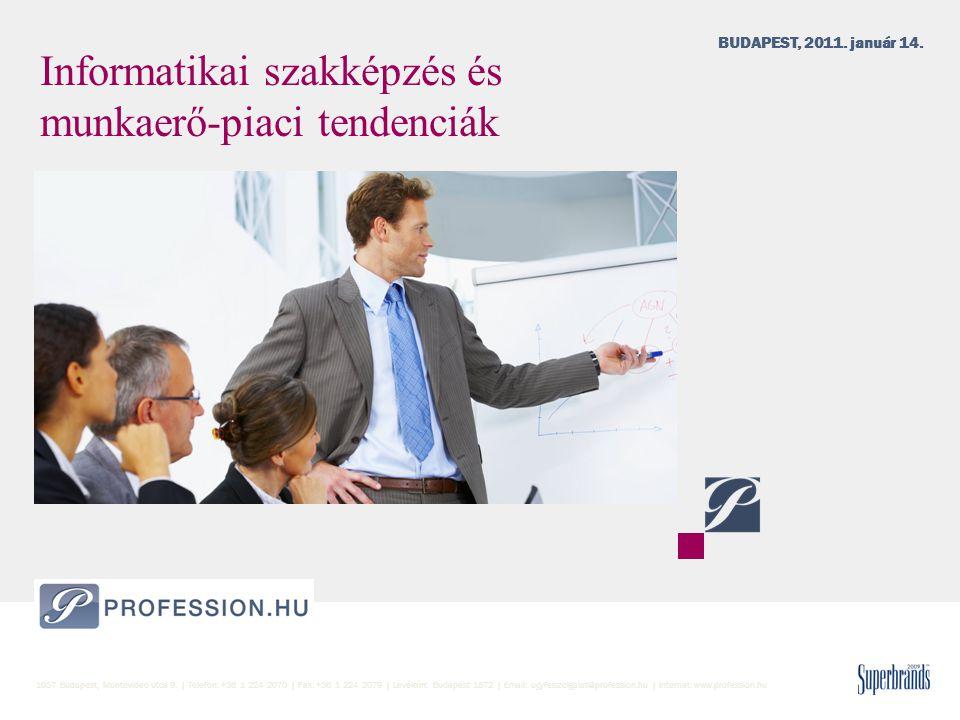 Informatikai szakképzés és munkaerő-piaci tendenciák BUDAPEST, 2011. január 14. 1037 Budapest, Montevideo utca 9. | Telefon: +36 1 224 2070 | Fax: +36