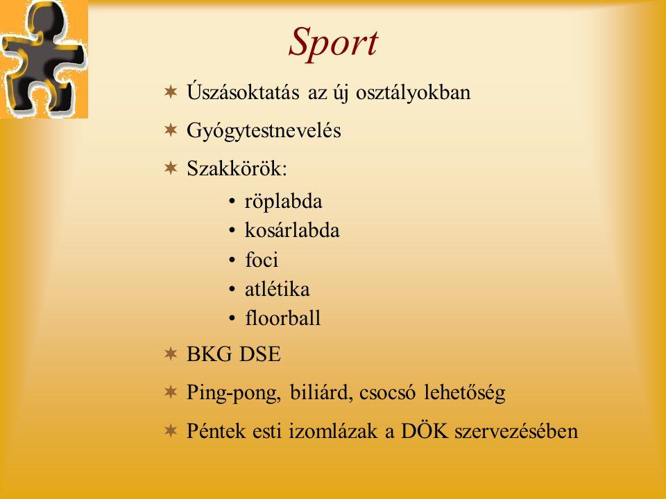 Sport  Úszásoktatás az új osztályokban  Gyógytestnevelés  Szakkörök: •röplabda •kosárlabda •foci •atlétika •floorball  BKG DSE  Ping-pong, biliárd, csocsó lehetőség  Péntek esti izomlázak a DÖK szervezésében
