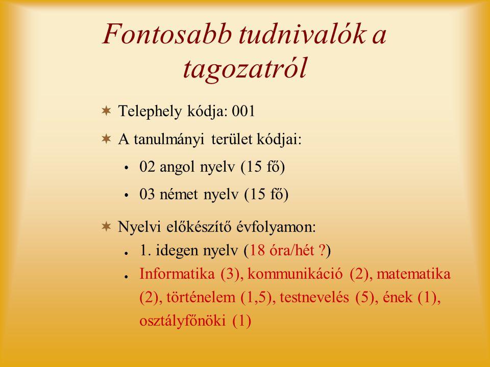 Fontosabb tudnivalók a tagozatról  Telephely kódja: 001  A tanulmányi terület kódjai: • 02 angol nyelv (15 fő) • 03 német nyelv (15 fő)  Nyelvi elő
