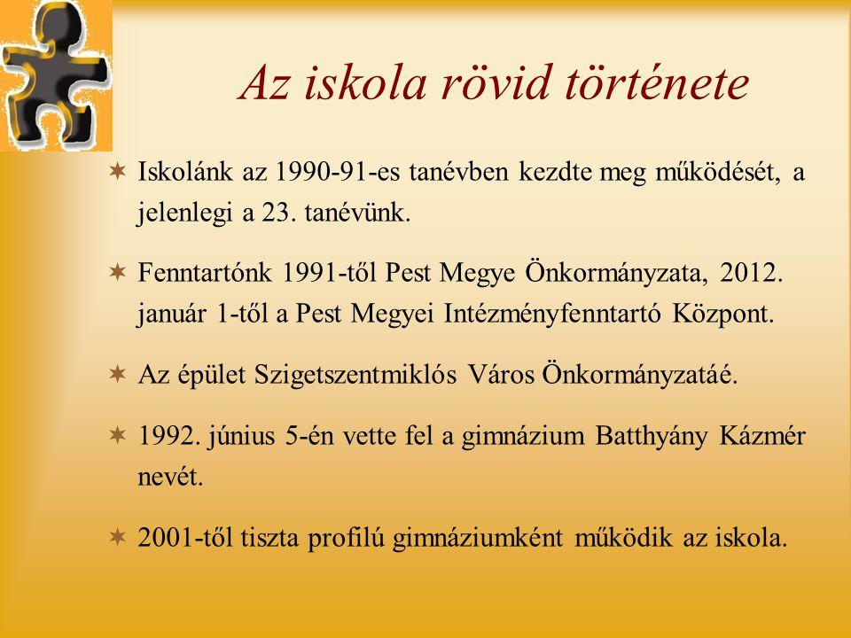 Az iskola rövid története  Iskolánk az 1990-91-es tanévben kezdte meg működését, a jelenlegi a 23. tanévünk.  Fenntartónk 1991-től Pest Megye Önkorm