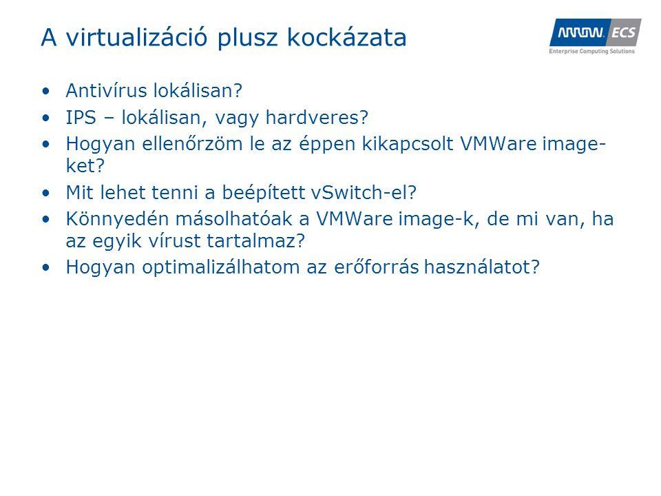 A virtualizáció plusz kockázata •Antivírus lokálisan.
