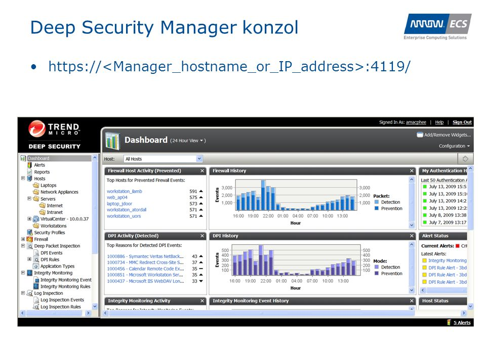 Deep Security Manager konzol •https:// :4119/