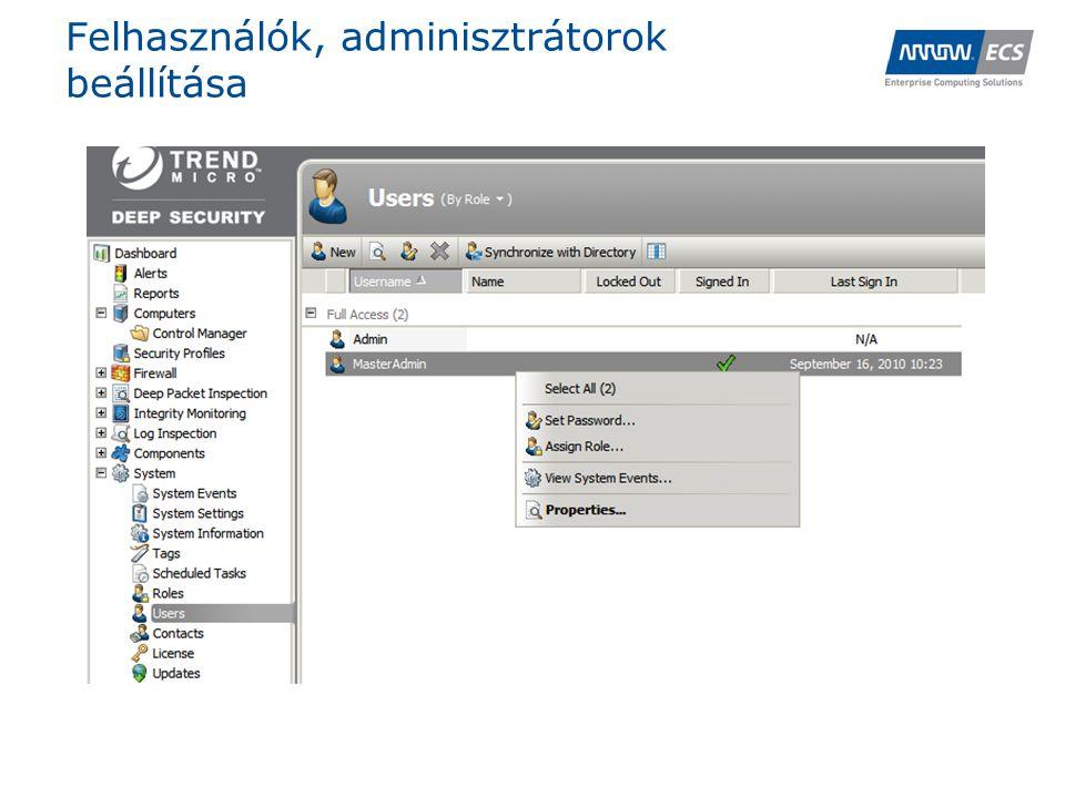 Felhasználók, adminisztrátorok beállítása