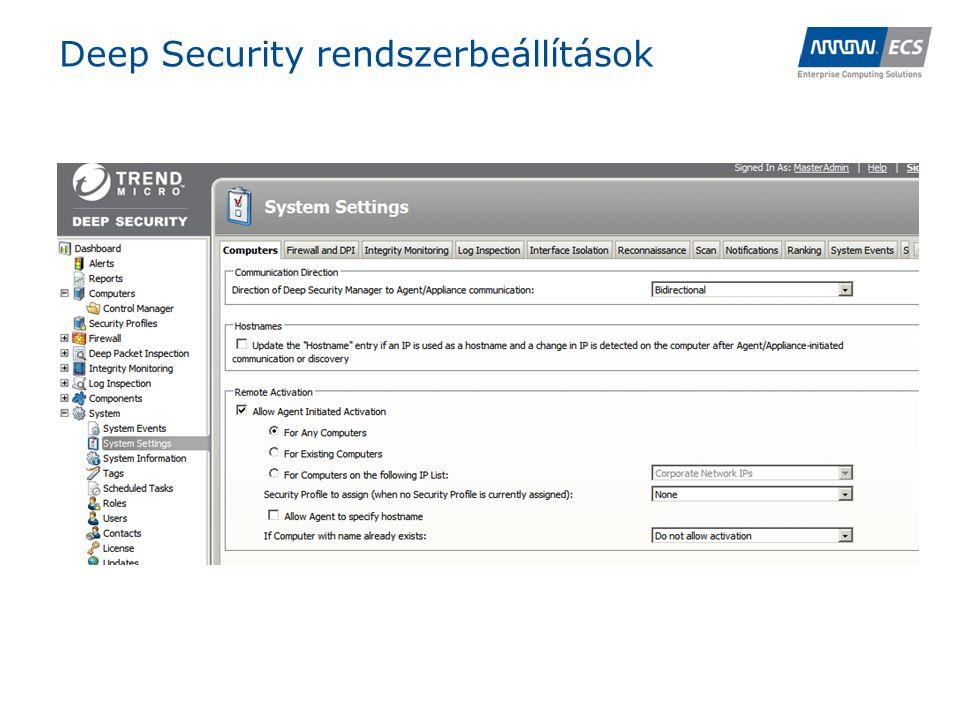 Deep Security rendszerbeállítások