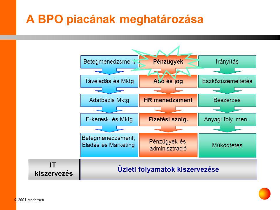 © 2001 Andersen A BPO piacának meghatározása Betegmenedzsment, Eladás és Marketing Pénzügyek és adminisztráció Működtetés IT kiszervezés Üzleti folyamatok kiszervezése Betegmenedzsment Táveladás és Mktg Adatbázis Mktg E-keresk.