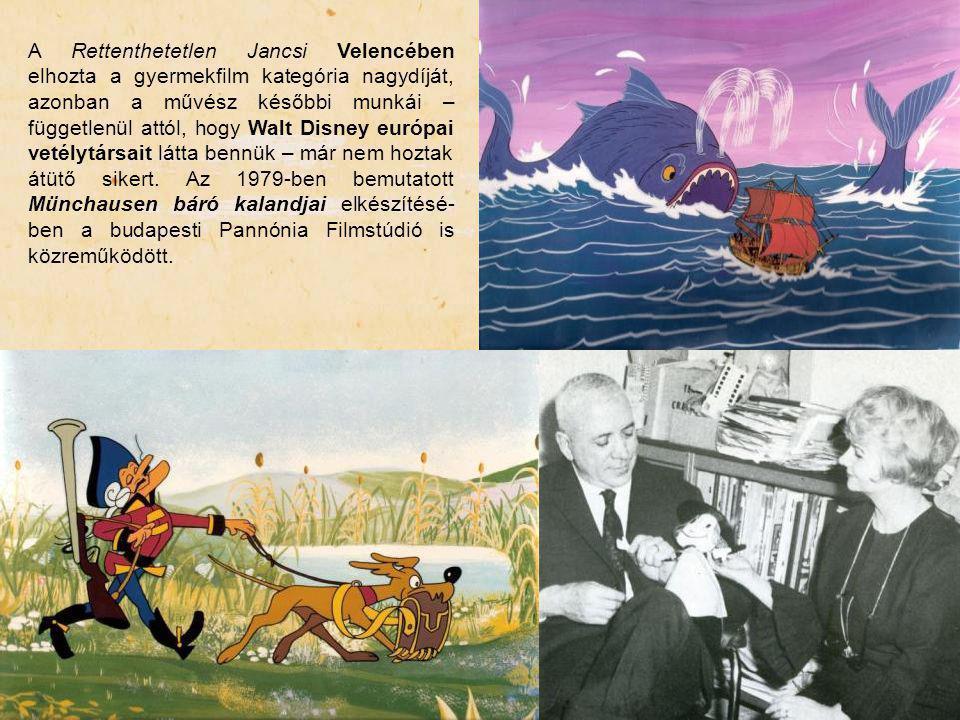 A Rettenthetetlen Jancsi Velencében elhozta a gyermekfilm kategória nagydíját, azonban a művész későbbi munkái – függetlenül attól, hogy Walt Disney e