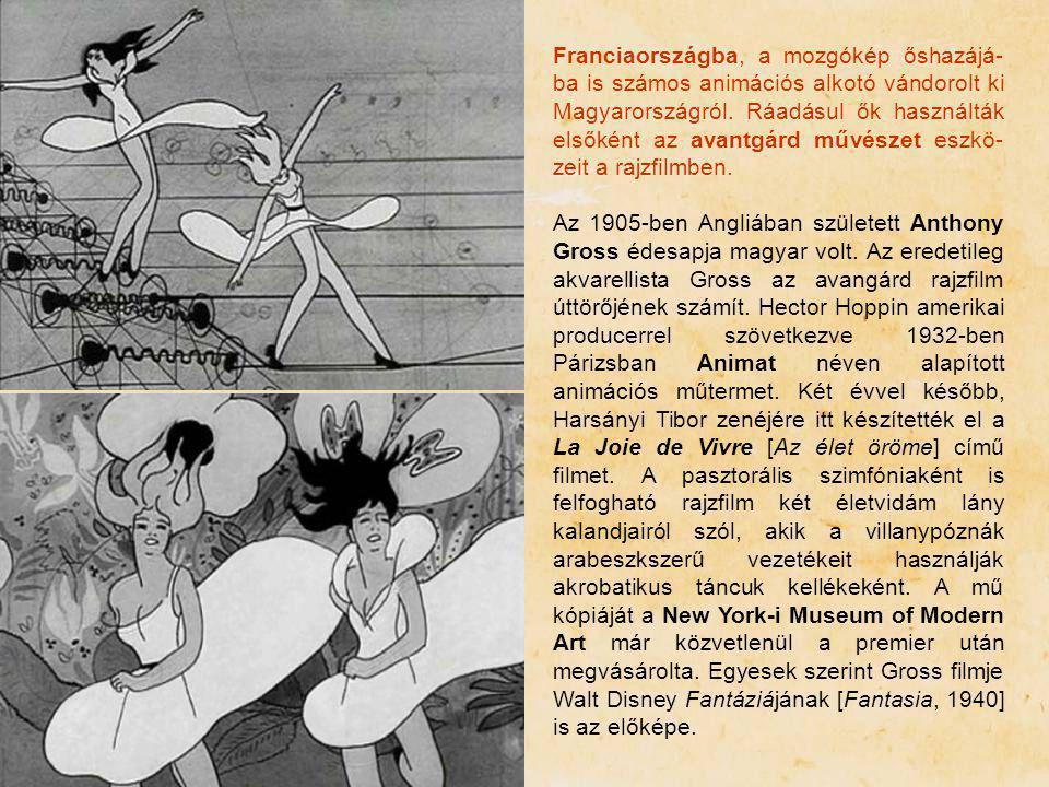 Franciaországba, a mozgókép őshazájá- ba is számos animációs alkotó vándorolt ki Magyarországról. Ráadásul ők használták elsőként az avantgárd művésze