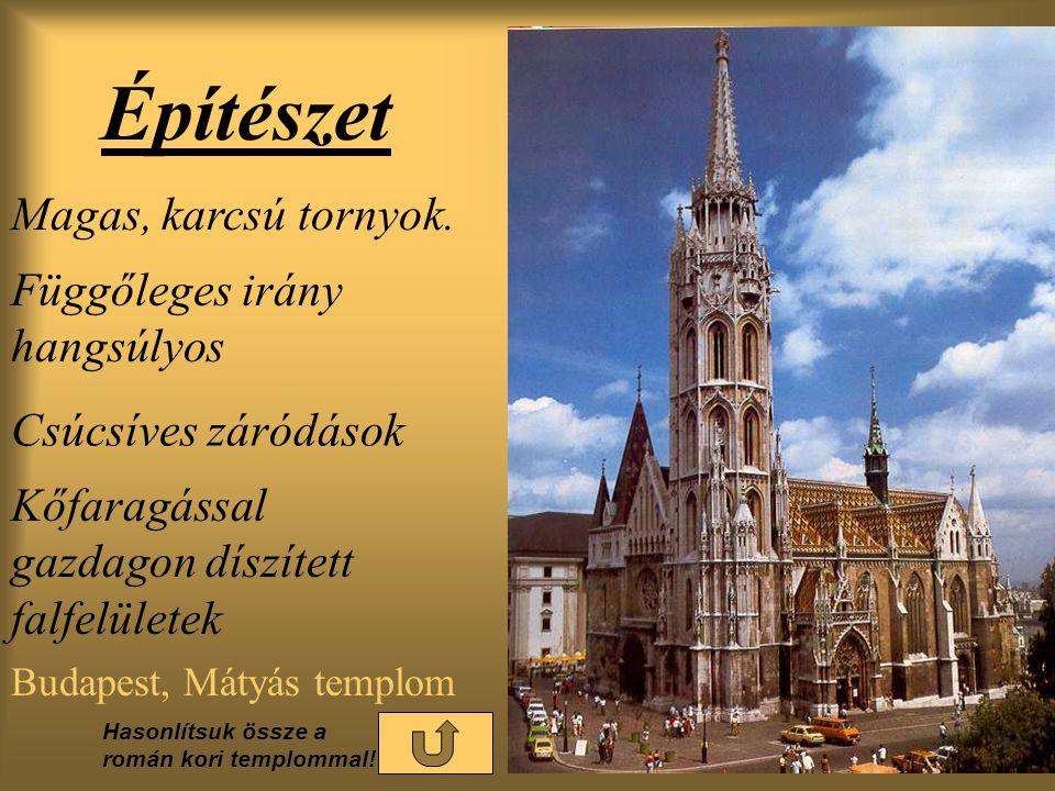 Építészet Budapest, Mátyás templom Magas, karcsú tornyok.