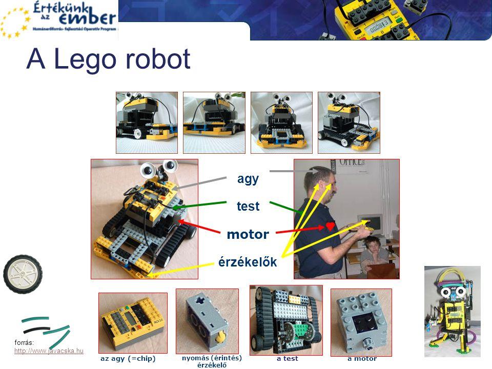 A Lego robot agy test motor érzékelők az agy (=chip) nyomás (érintés) érzékelő a testa motor forrás: http://www.javacska.hu http://www.javacska.hu