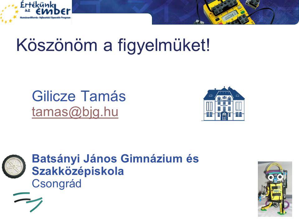 Köszönöm a figyelmüket! Gilicze Tamás tamas@bjg.hu tamas@bjg.hu Batsányi János Gimnázium és Szakközépiskola Csongrád
