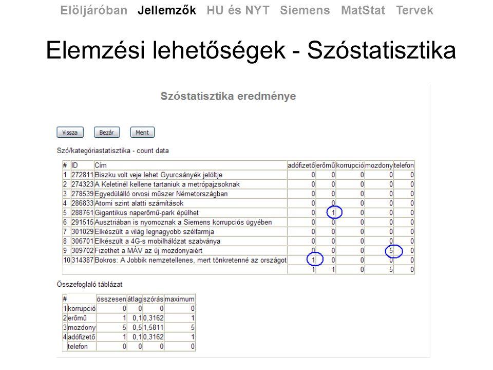 Elemzési lehetőségek - Szóstatisztika Elöljáróban Jellemzők HU és NYT Siemens MatStat Tervek