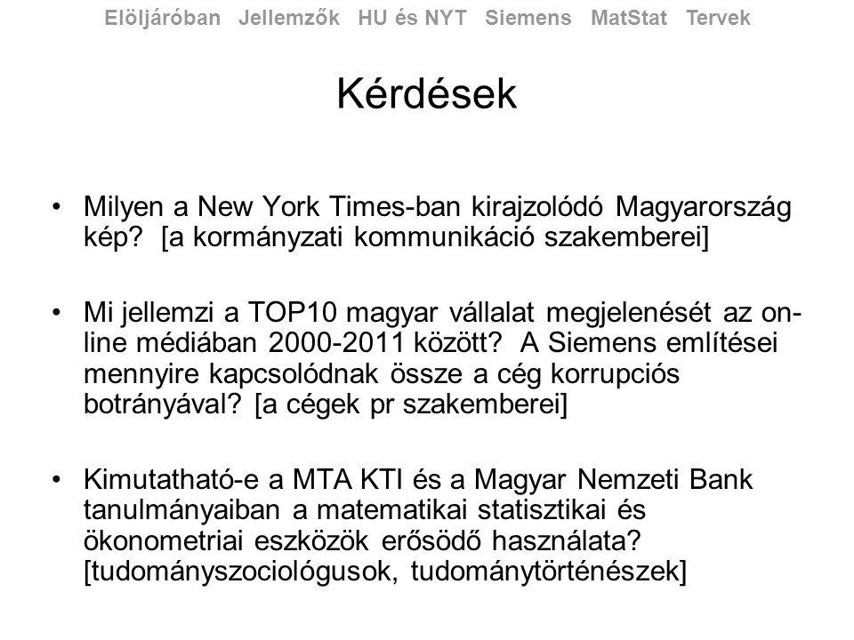 Kérdések •Milyen a New York Times-ban kirajzolódó Magyarország kép.