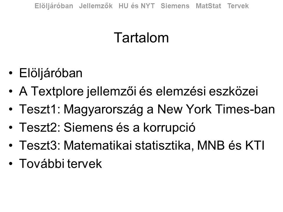 Tartalom •Elöljáróban •A Textplore jellemzői és elemzési eszközei •Teszt1: Magyarország a New York Times-ban •Teszt2: Siemens és a korrupció •Teszt3: Matematikai statisztika, MNB és KTI •További tervek Elöljáróban Jellemzők HU és NYT Siemens MatStat Tervek