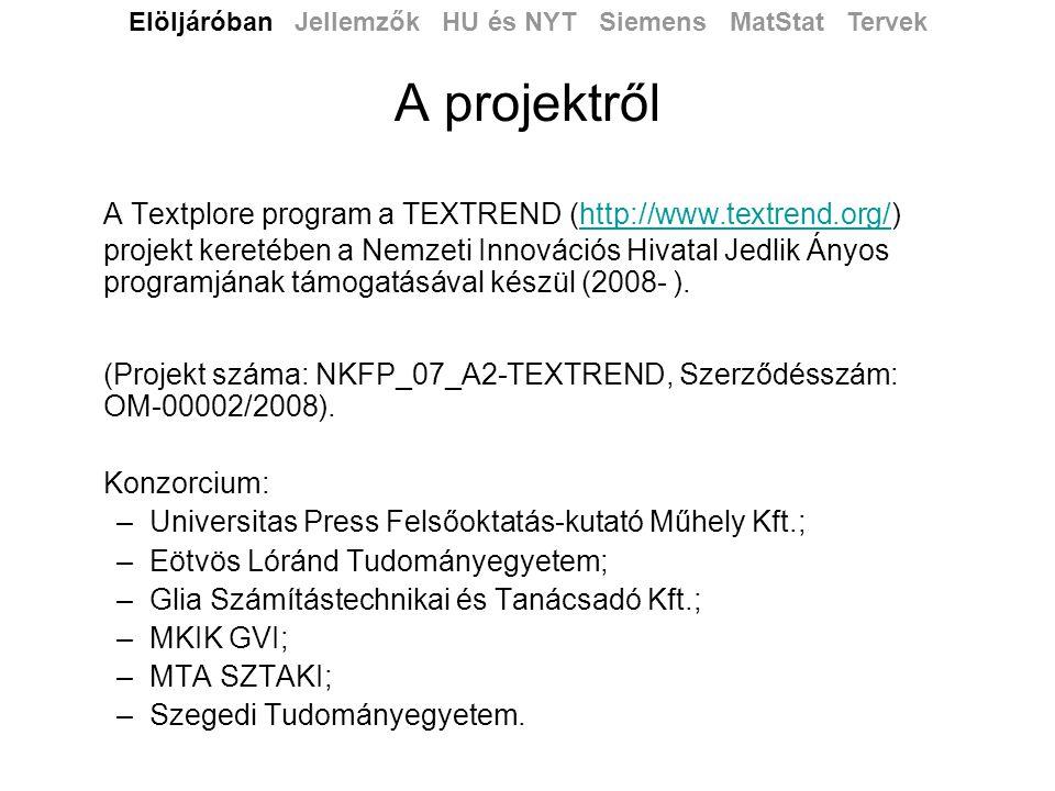 A bemutató célja •Felhasználói ötletek, vélemények •A Textplore ismertetése •Teszt elemzések, első eredmények Elöljáróban Jellemzők HU és NYT Siemens MatStat Tervek