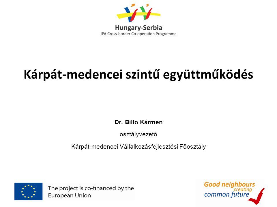 Kárpát-medencei szintű együttműködés Dr. Billo Kármen osztályvezető Kárpát-medencei Vállalkozásfejlesztési Főosztály