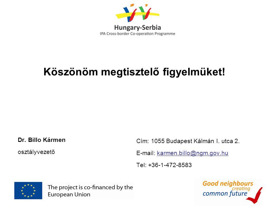 Köszönöm megtisztelő figyelmüket! Dr. Billo Kármen osztályvezető Cím: 1055 Budapest Kálmán I. utca 2. E-mail: karmen.billo@ngm.gov.hu Tel: +36-1-472-8
