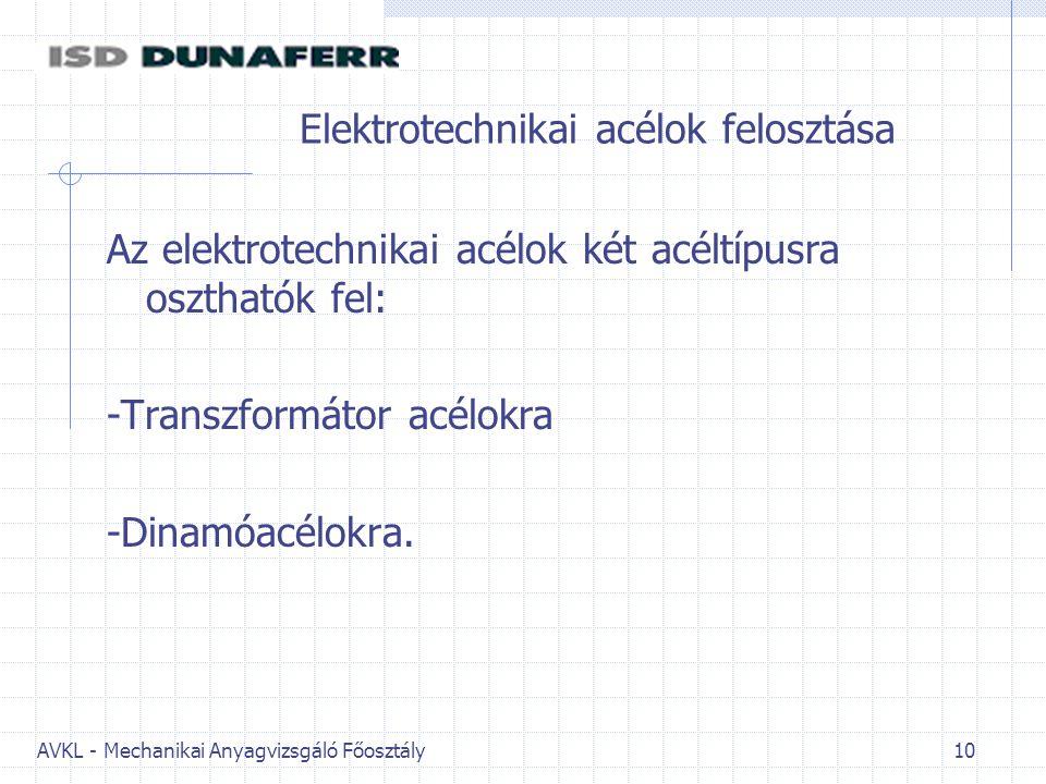 AVKL - Mechanikai Anyagvizsgáló Főosztály 10 Elektrotechnikai acélok felosztása Az elektrotechnikai acélok két acéltípusra oszthatók fel: -Transzformá