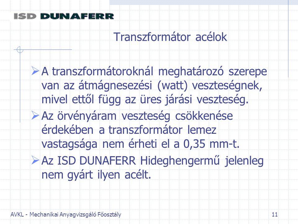 AVKL - Mechanikai Anyagvizsgáló Főosztály 11 Transzformátor acélok  A transzformátoroknál meghatározó szerepe van az átmágnesezési (watt) veszteségne