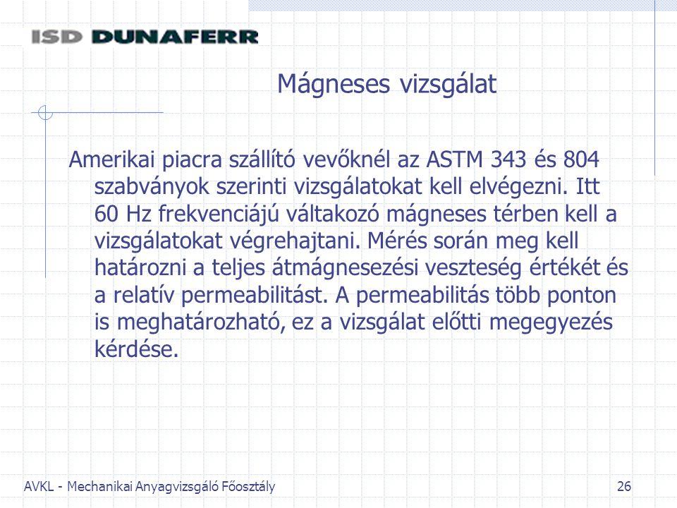 AVKL - Mechanikai Anyagvizsgáló Főosztály 26 Mágneses vizsgálat Amerikai piacra szállító vevőknél az ASTM 343 és 804 szabványok szerinti vizsgálatokat