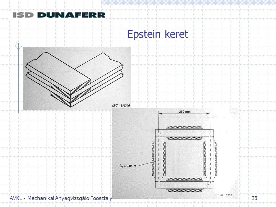 AVKL - Mechanikai Anyagvizsgáló Főosztály 28 Epstein keret