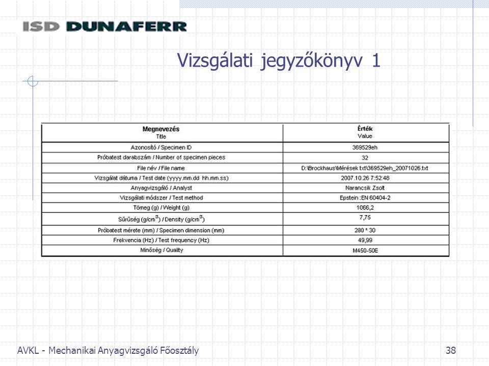 AVKL - Mechanikai Anyagvizsgáló Főosztály 38 Vizsgálati jegyzőkönyv 1