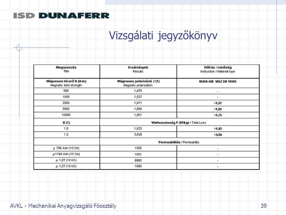 AVKL - Mechanikai Anyagvizsgáló Főosztály 39 Vizsgálati jegyzőkönyv