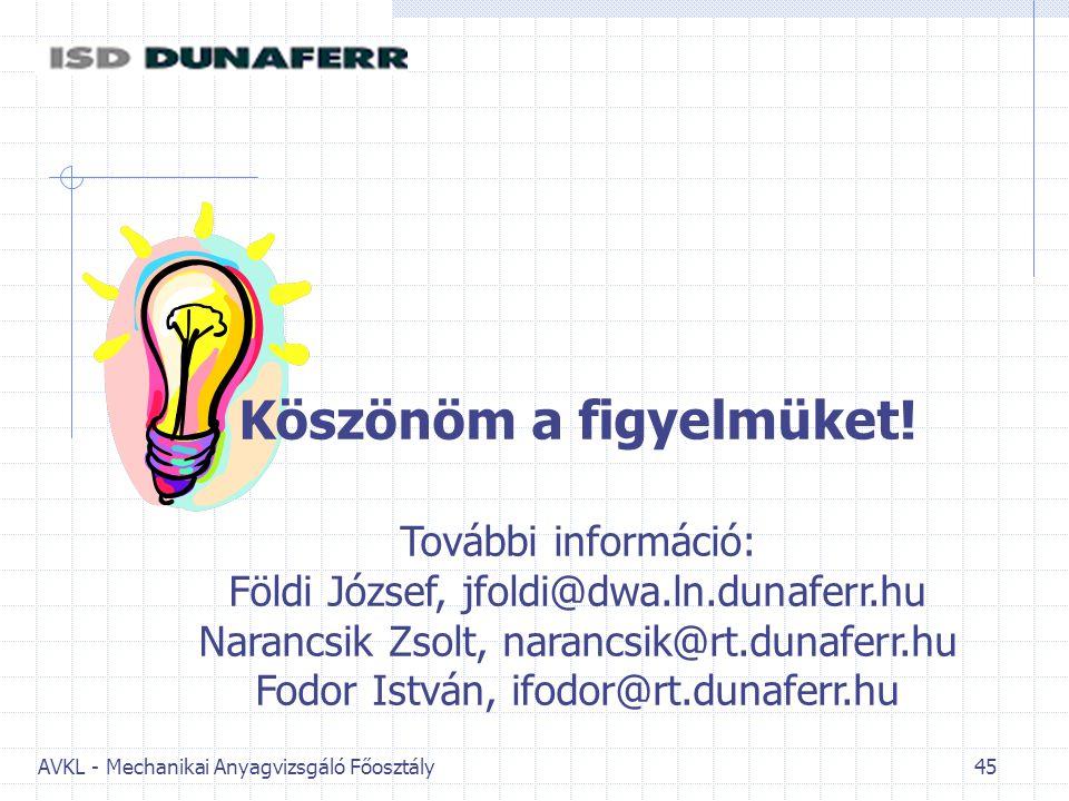 AVKL - Mechanikai Anyagvizsgáló Főosztály 45 Köszönöm a figyelmüket! További információ: Földi József, jfoldi@dwa.ln.dunaferr.hu Narancsik Zsolt, nara