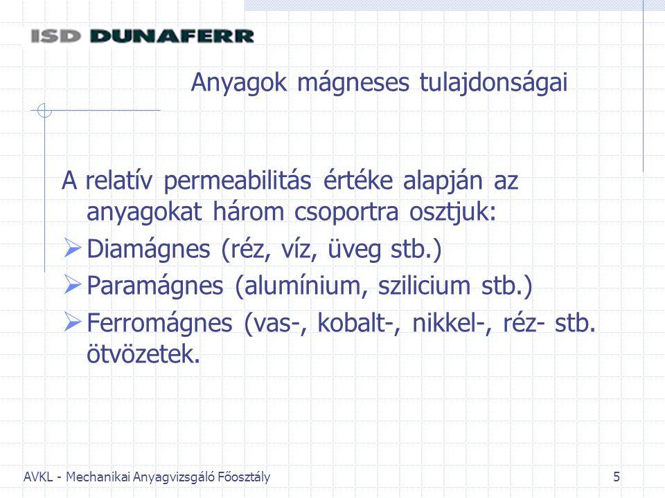 AVKL - Mechanikai Anyagvizsgáló Főosztály 5 Anyagok mágneses tulajdonságai A relatív permeabilitás értéke alapján az anyagokat három csoportra osztjuk