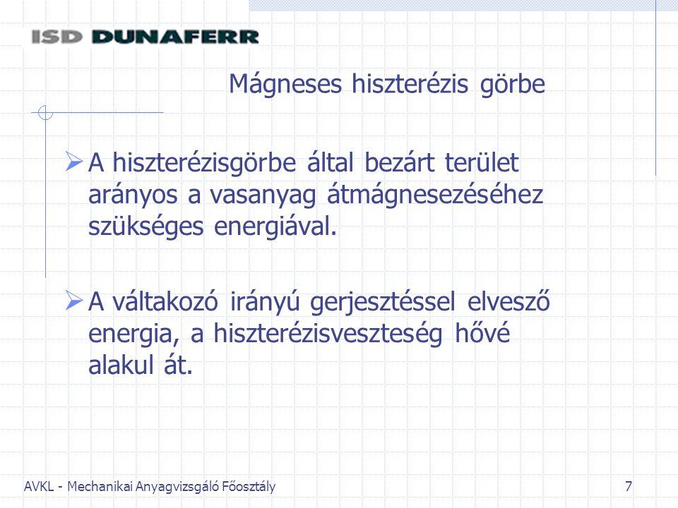 AVKL - Mechanikai Anyagvizsgáló Főosztály 8 Transzformátor működési elve A transzformátorban kétféle veszteség lép fel: -vasveszteség -tekercs (réz-) veszteség.