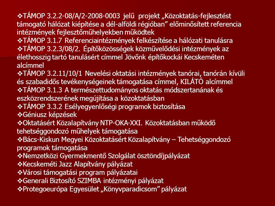 """ TÁMOP 3.2.2-08/A/2-2008-0003 jelű projekt """"Közoktatás-fejlesztést támogató hálózat kiépítése a dél-alföldi régióban"""" előminősített referencia intézm"""